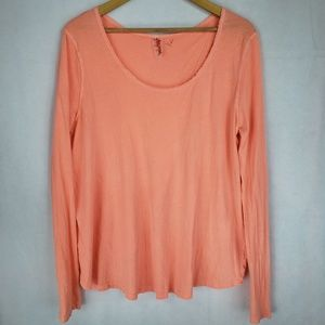 FREE PEOPLE Split Back Orange Top